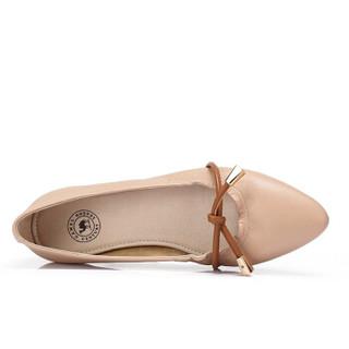 骆驼 A91893635 女士 气质淑女尖头套脚平跟单鞋 A91893635 驼/土黄 34