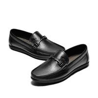 J.Benato 宾度 男士透气休闲软底套脚头层牛皮爸爸鞋 7N381 黑色 37