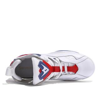 森马 Senma 时尚潮流拼色户外跑步运动系带韩版休闲鞋女 229114203 白蓝色 38码