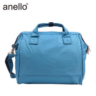 日本anello 金属拉链款大号单肩包男女手提包斜挎包H0852 天蓝色