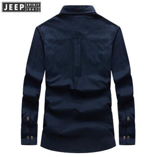 吉普男装JEEP 男士衬衫男款棉纯色长袖衬衣商务外穿上衣 RSC017 卡其色 M