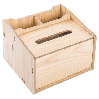 金隆兴(glosen)木质纸巾盒创意客厅卧室车用抽纸盒办公桌面笔筒手机收纳盒 木纹色