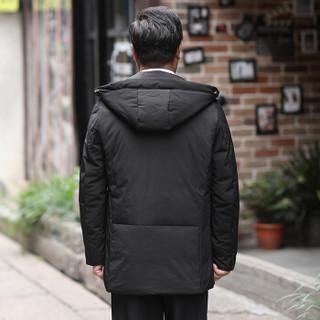 恒源祥羽绒服中老年男装男士2018年冬季加厚新款外套简约百搭上装 黑色 3XL(190/104A)