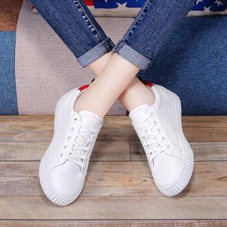 LAIKAJINDUN 莱卡金顿 平底学生韩版百搭女士厚底运动休闲小白鞋 6631 白红 39