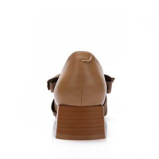 CAMEL 骆驼 女鞋玛丽珍时尚优雅蝴蝶结粗跟休闲套脚 W91514503 杏色 35/225码