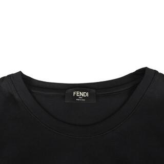 FENDI 芬迪 男士黑色FF图案棉质圆领短袖T恤 FAF532 A54P F0GME M码