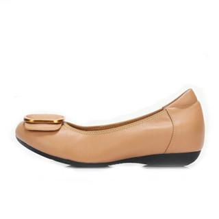 CAMEL 骆驼 女士 休闲通勤牛皮方扣圆头单鞋 A91521632 驼色 39