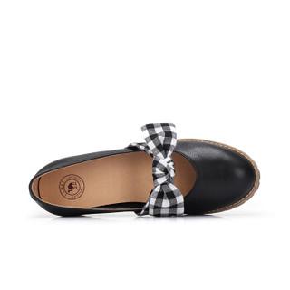 CAMEL 骆驼 女士 甜美格纹蝴蝶结牛皮低跟单鞋 A91027626 黑/花 34
