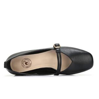 CAMEL 骆 女士 文艺复古腕带方头粗跟单鞋 A91514689 黑色 38