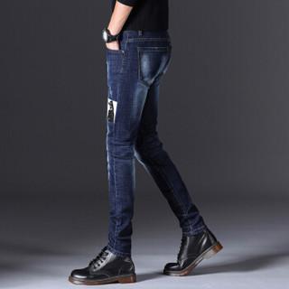 卡帝乐鳄鱼(CARTELO)牛仔裤 男士时尚潮流休闲印花弹力牛仔长裤A329-363蓝色33
