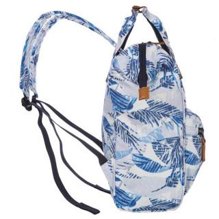 探路者(TOREAD)户外春夏男女通用15升双肩休闲背包ZEBF80733 棕榈叶蓝色印花 15L