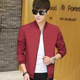 凯撒(KAISER)夹克 男2019春季新款棒球服韩版休闲运动男士青年修身帅气外套 Q913-7802 红色 XL