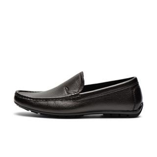 J.Benato 宾度 男鞋 商务休闲皮鞋时尚男士软底舒适套脚驾车鞋 8N303 棕色 43