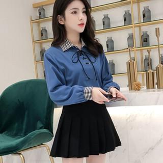 朗悦女装 2019春季新款长袖衬衫女学生白衬衣甜美上衣薄外套LWCC191294 蓝色 M