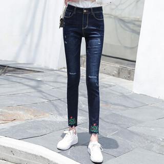朗悦女装 2019春季新款修身牛仔裤女学生韩版铅笔裤小脚裤 LWKN191126 深蓝色 29