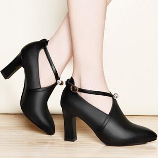 centenary 百年纪念 欧洲女士百搭一字扣尖头粗跟低帮单鞋 1365 黑色 35