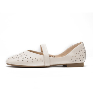 CAMEL 骆驼 单鞋女头层牛皮时尚镂空平底一字扣 W91504522 米色 35/225码