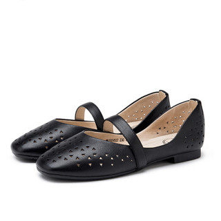 CAMEL 骆驼 单鞋女头层牛皮时尚镂空平底一字扣 W91504522 黑色 40/250码