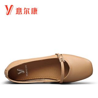YEARCON 意尔康 女士复古玛丽珍平底平跟方头奶奶鞋 9171DA26010W 杏色 36