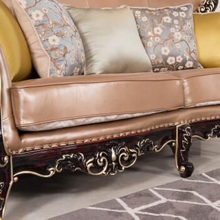 中伟ZHONGWEI欧式优质牛皮实木沙发 客厅实木雕花沙发组合单人位咖啡色