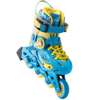 动感(ACTION)溜冰鞋儿童全套装轮滑鞋 平花鞋成人男女可调滑轮鞋旱冰鞋 流星蓝+单肩包 M/33-36码