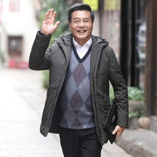 恒源祥羽绒服中老年男装男士2018年冬季加厚新款外套简约百搭上装 咸菜 XL(180/96A)