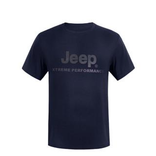 JEEP 吉普 吉普户外圆领运动短袖男士新款T恤 J822094571 藏青棉 XL