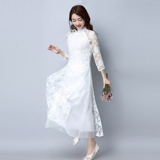 丝柏舍2019年春新款时尚中国风女装长裙纯色立领蕾丝拼接纱网多层下摆连衣裙 S81R0543LA7S  白色 S