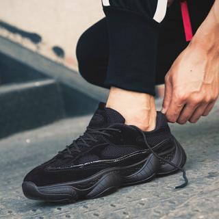 COSO 复古韩版潮流百搭跑步运动休闲鞋子男 K07-C811 黑色 40