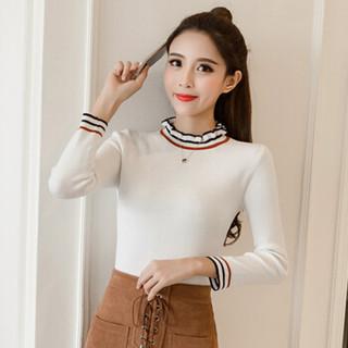 JOY OF JOY 京东女装2019春季新款韩版修身学生打底衫针织衫套头女常规款 JWYC191145 白色 XL