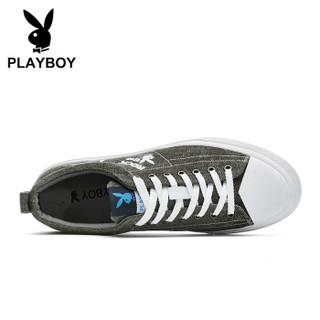 PLAYBOY 花花公子 英伦低帮休闲硫化帆布鞋男平底舒适 DS85239 军绿 40