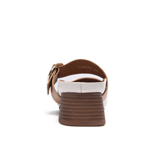 Fuguiniao 富贵鸟 女单鞋休闲浅口低跟头层牛皮懒人时尚K99D531C 白色 35