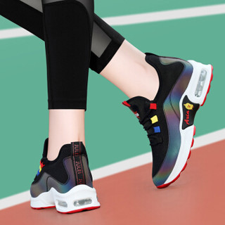 LAIKAJINDUN 莱卡金顿 韩版学生百搭厚底防滑女士平底拼色运动休闲鞋 6658 黑红 36