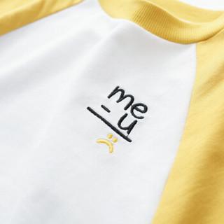 cicie自营童装女童卫衣蝙蝠袖绣花套头衫撞色女孩儿童上衣C91002 黄色 130/64