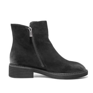 AOKANG 奥康 时尚擦色欧美纯色女靴18493103237黑色37码
