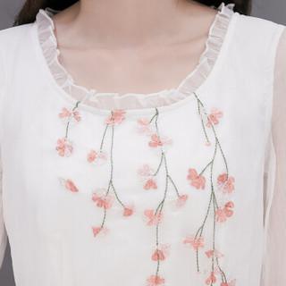 一塘晨秋装新款女圆领纯色胸前碎花修身气质连衣裙 S81R0310LA7XS 白色 XS