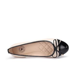 CAMEL 骆驼 休闲系列 女士 知性优雅蝴蝶结套脚平底单鞋 A91875617 黑/杏 34