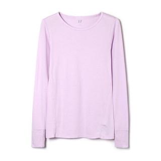 Gap旗舰店 女装莫代尔打底衫T恤351655  秋冬装纯色长袖上衣 粉紫色 S