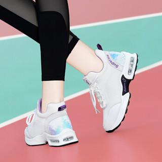 centenary 百年纪念 韩版百搭平跟低帮系带拼色休闲健身房跑步鞋 1850 白色 35
