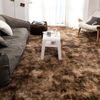 艾薇家纺 客厅地毯卧室床边毯长绒毛沙发茶几毯防滑地垫脚垫满铺地毯 树棕 140*190cm