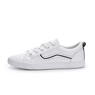 CAMEL 骆驼 小白鞋女韩版时尚系带学院风低帮滑板运动  W91226530 白/黑 36/230码