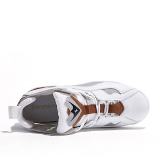 森马 Senma 时尚潮流拼色户外跑步运动系带韩版休闲鞋女 229114203 米灰色 35码