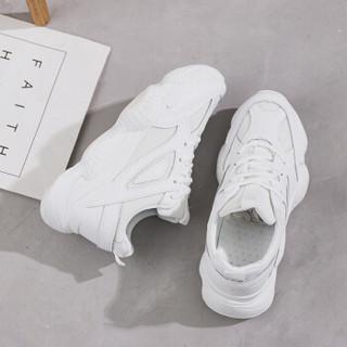 玫蒂莎 超火运动潮流女韩版原宿百搭休闲老爹小白鞋女 906 白色 39
