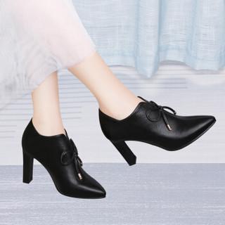 古奇天伦 韩版时尚百搭尖头细跟性感深口单鞋 9303 黑色 38