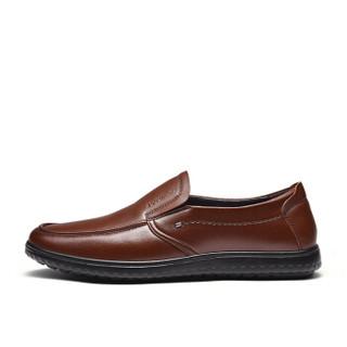Fuguiniao 富贵鸟 男士商务休闲头层牛皮鞋舒适套脚 S994335 红棕 39