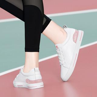 古奇天伦 女士韩版时尚简约百搭学生系带低帮运动休闲小白鞋 9277 粉色 37
