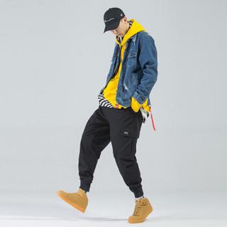 富贵鸟(FUGUINIAO)工装裤2019春季新款潮牌束脚裤嘻哈宽松hiphop小脚裤子 黑色 XL
