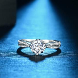 蓝色多瑙河 18K金钻石戒指四爪群镶结婚钻戒定制款 卡洛琳 HD058N