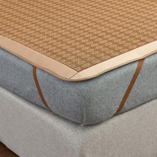 简丽(janlee)凉席藤席1.5米 夏季凉席三件套可折叠双人床1.5米空调席子 150*195cm(2个枕套) 罗马格