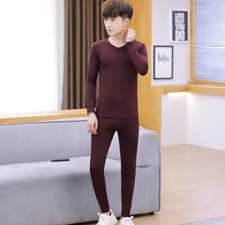 猫人(MiiOW)T恤套装 男士简约纯色无痕V领加绒保暖套装211-1-M868纯色铁绣红L